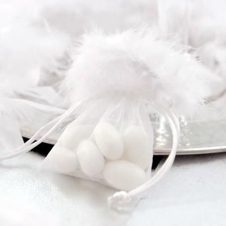 Sac organza blanc à plumes X5