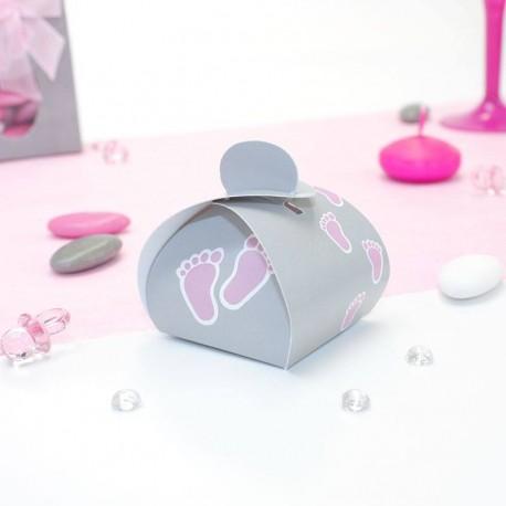 Petite boite à dragées pied de bébé rose