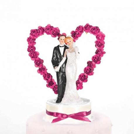 Figurine gâteau de mariage coeur de rose fuchsia
