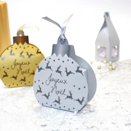 """Boule """"Joyeux Noël"""" argent"""