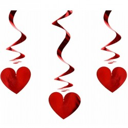 Serpentins brillant cœur rouge mariage X3