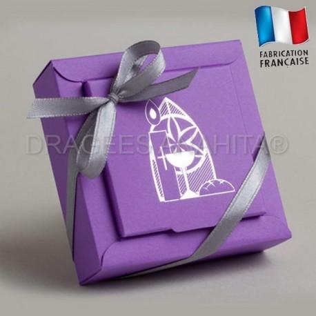 Boites à dragées communion couleu violet boites à dragées communion