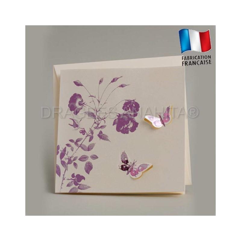 faire part mariage theme papillon violet drag es anahita. Black Bedroom Furniture Sets. Home Design Ideas