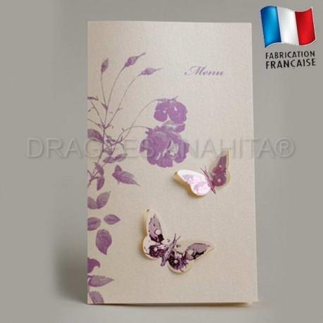 Carte menu mariage thème papillon violet