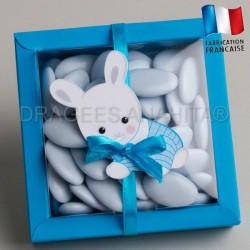 emballage dragées bapteme lapin bleu