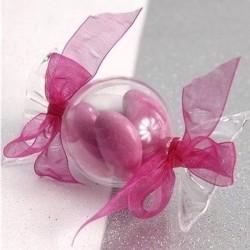 Contenant dragées bonbon transparent