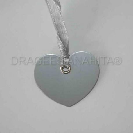 12 Etiquettes coeur avec ruban couleur argenté