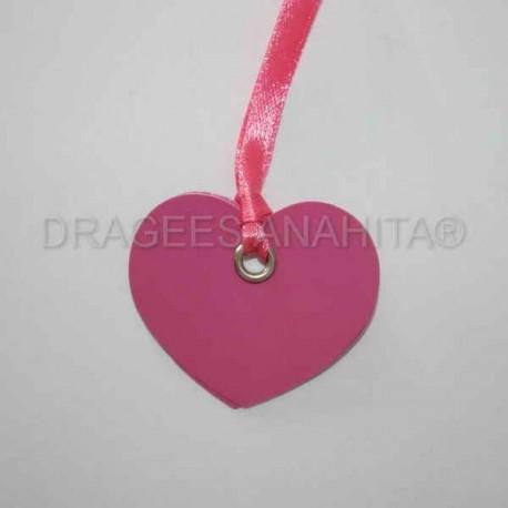 12 Etiquettes coeur avec ruban couleur fuchsia
