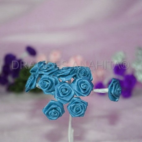 Mini rose ourlée Turquoise X12