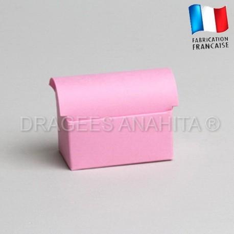 Mini coffre à dragées rose