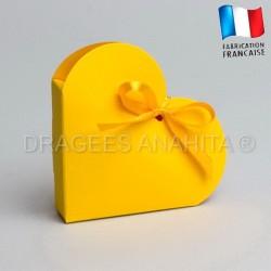 Contenant à dragées coeur jaune