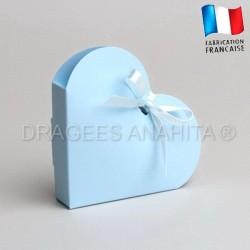 Contenant à dragées coeur bleu ciel