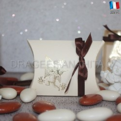 Pochette dragées ange ivoire