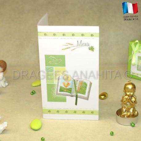 Menu communion Bible vert et blanc