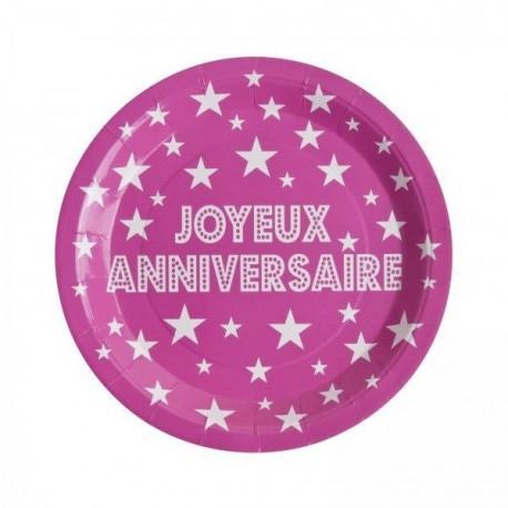 Assiette Joyeux anniversaire X10 en carton