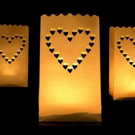Lanterne photophore coeur X 10