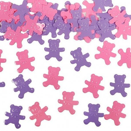 Confettis de table petit oursons rose