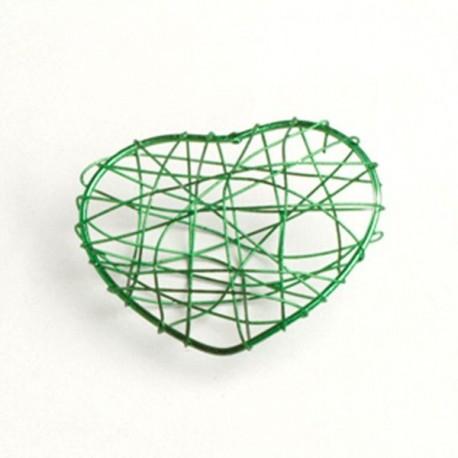 4 coeurs en fil métal vert