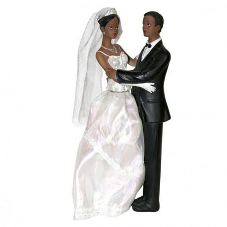 Figurine mariés noirs 23 cm