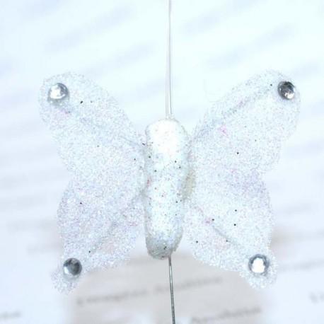 Papillon blanc pailleté
