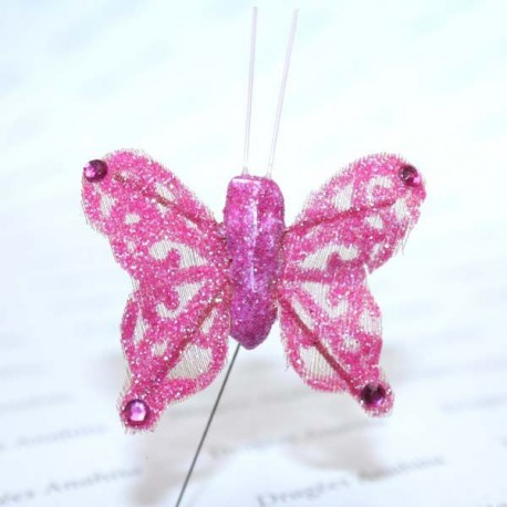 Papillon rose pailleté