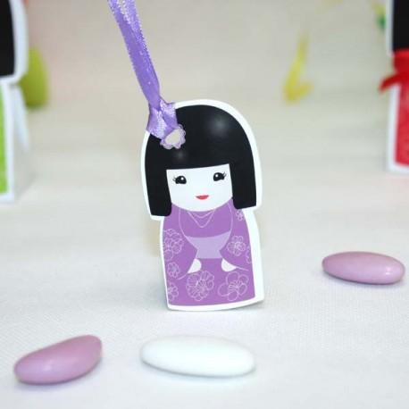 4 Etiquettes Kokeshi lilas