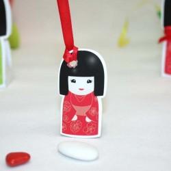 4 Etiquettes Kokeshi rouge
