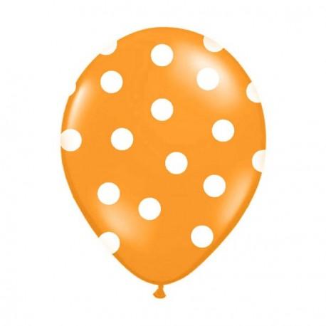 6 Ballons orange pois blanc 36 cm