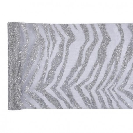 Chemin de table zebre argent