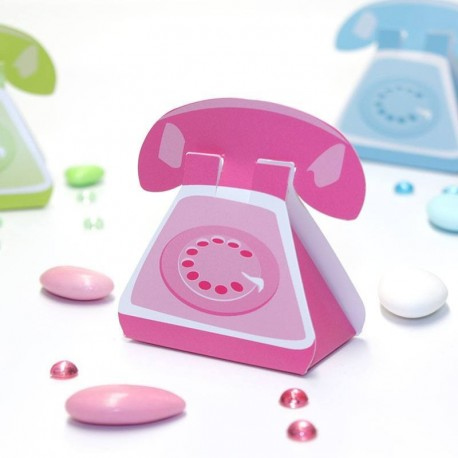 Ballotin à dragées téléphone rose