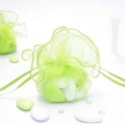 Tulle a dragées vert anis avec attache pas cher