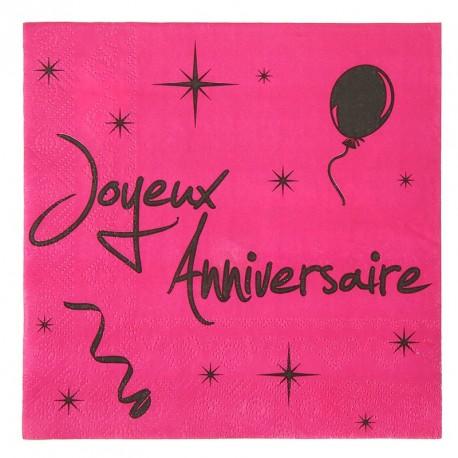 20 serviettes de table joyeux anniversaire fuchsia