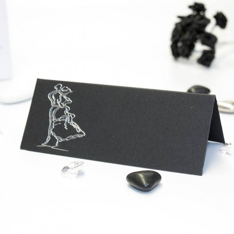 Carte de table thème couple enlacé noir