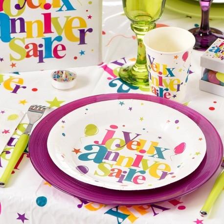 10 Assiettes jetables anniversaire multicolore