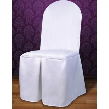 Housse de chaises tissu blanc mat haut de gamme