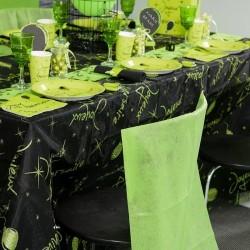 Nappe rectangulaire vert pailletée anniversaire tissu organdi