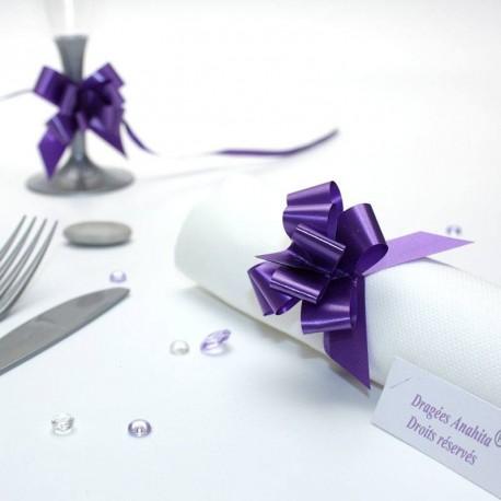 20 mini noeuds à tirer violet