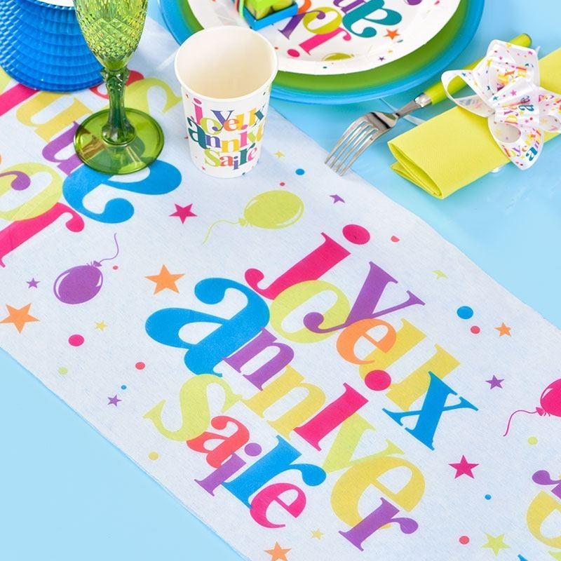 chemin de table anniversaire multicolore drag es anahita. Black Bedroom Furniture Sets. Home Design Ideas