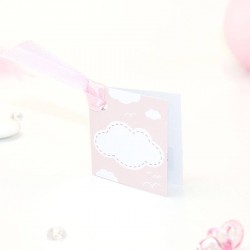 Etiquette à dragées carrée rose pour naissance