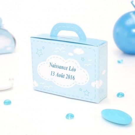 Contenant dragées valise bleu ciel