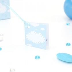 Etiquette à dragées carrée bleu pour naissance