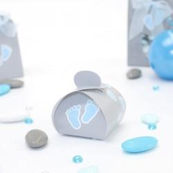 Petite boite à dragées pied de bébé bleu