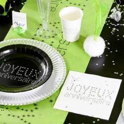 20 serviettes de table anniversaire noir et blanc