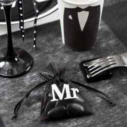 10 Sacs Organza blanc Mrs thème Mr & Mrs