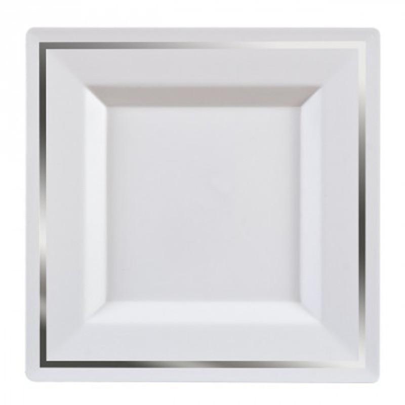 assiettes carr e pas cher argent 24 cm drag es anahita. Black Bedroom Furniture Sets. Home Design Ideas