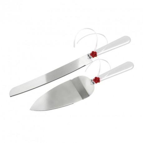 Couteau et pelle à gâteau mariage rose rouge