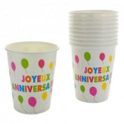 10 gobelets joyeux anniversaire multicolore