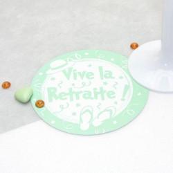 Sous verre vive la retraite vert d'eau
