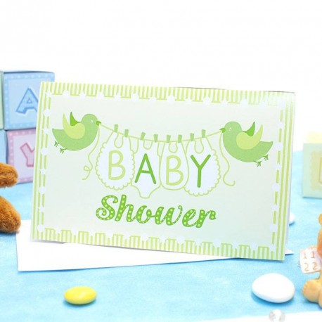 Carte d'invitation Baby Shower Verte