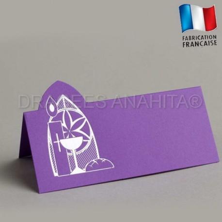 Marque place communion couleur violet
